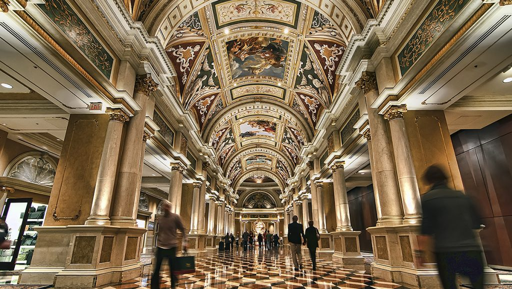 The Venetian Las Vegas elaborate vaulted ceilings plus the polished marble walls and floors