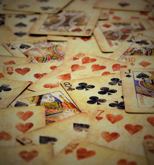 Old poker cards with vintage look