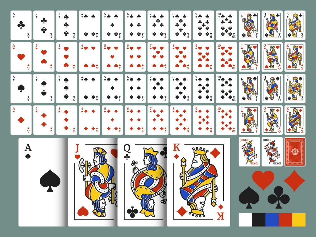 Playing cards for poker. Original deck in modern line art style. Set of 54 cards.