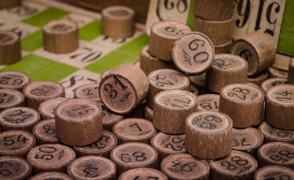 Vintage Wooden Bingo Numbers