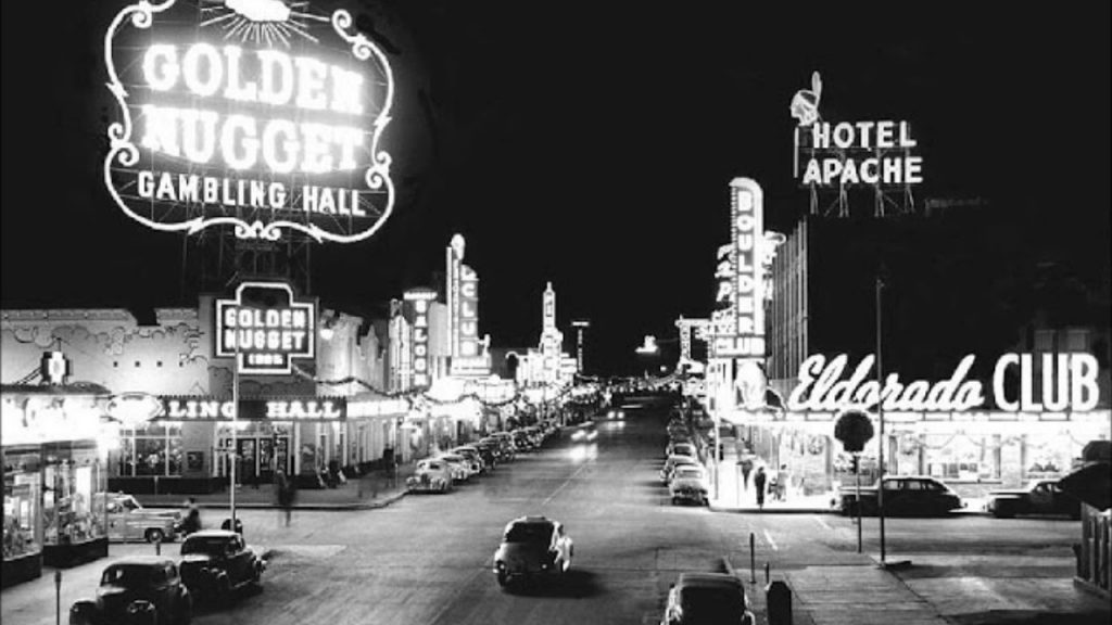 A view of the Las Vegas strip in 1953