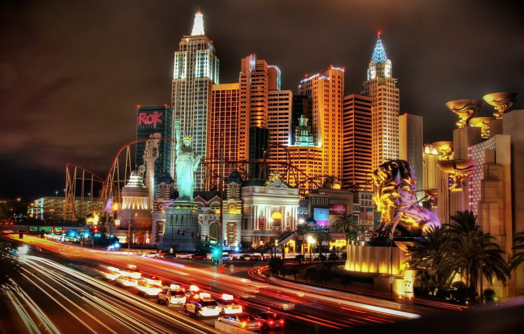 New York New York Las Vegas Hotel and Casino night view from far
