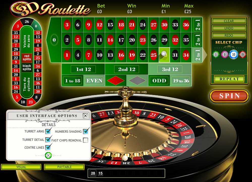 Playtech | 3D Roulette Video settings