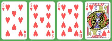4 Card Heart Flush 8 to J