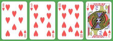 4 Card Heart Flush 8 to J