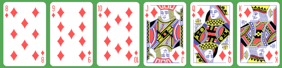 6 Card Diamonds Straight Flush