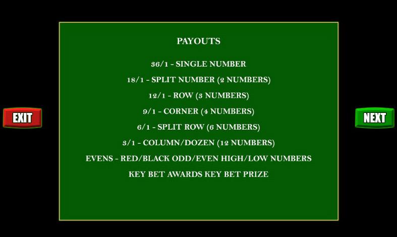 Scientific Games   Key Bet Roulette Payouts