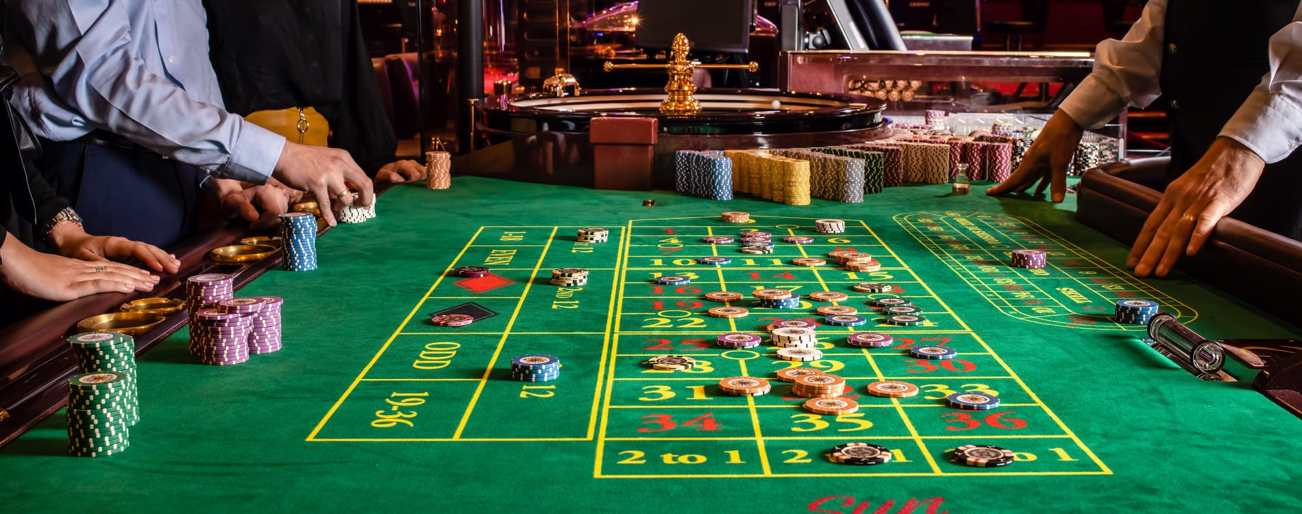 Roulette table in casino