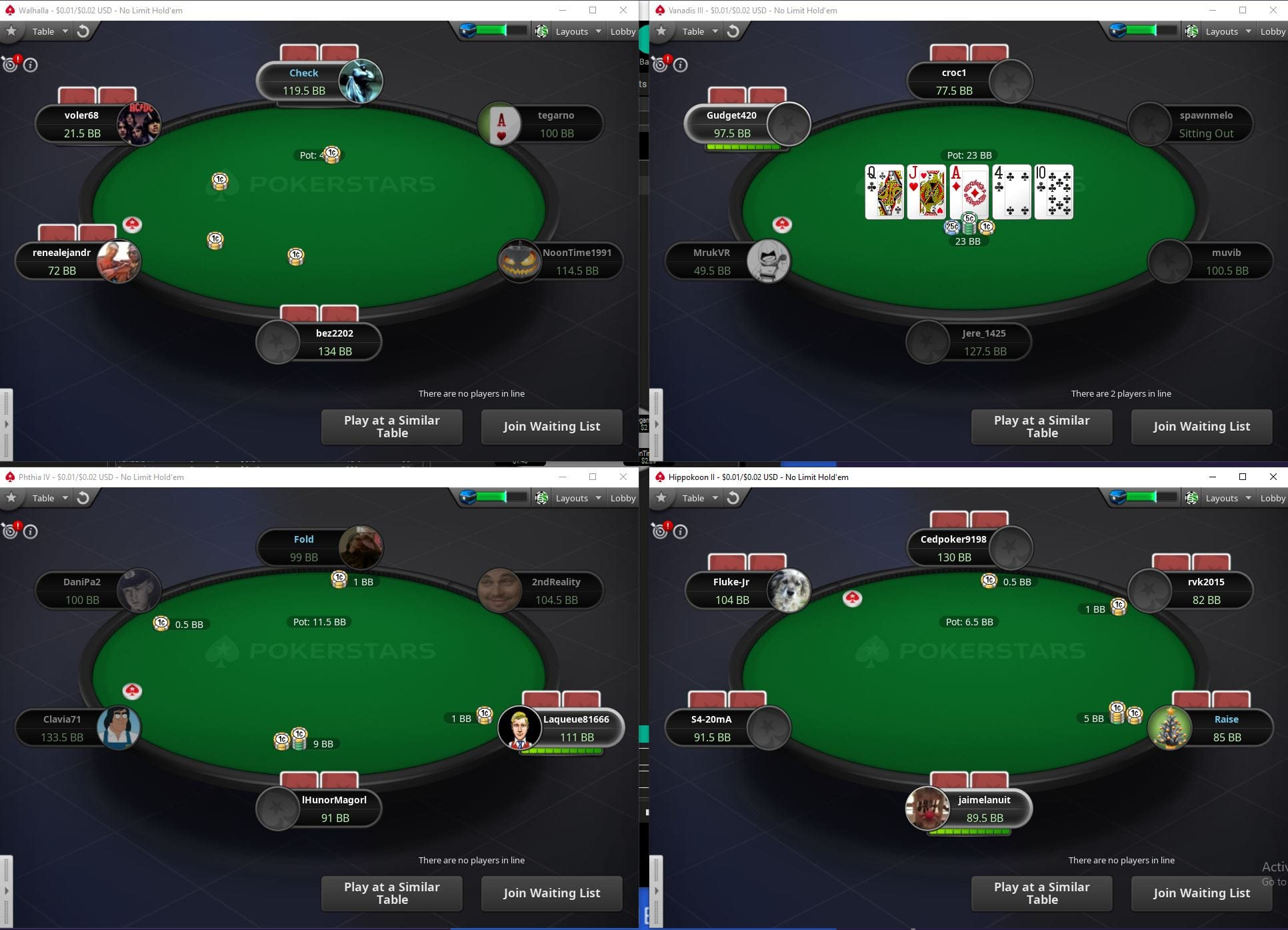 Cash Games Multi Tabling