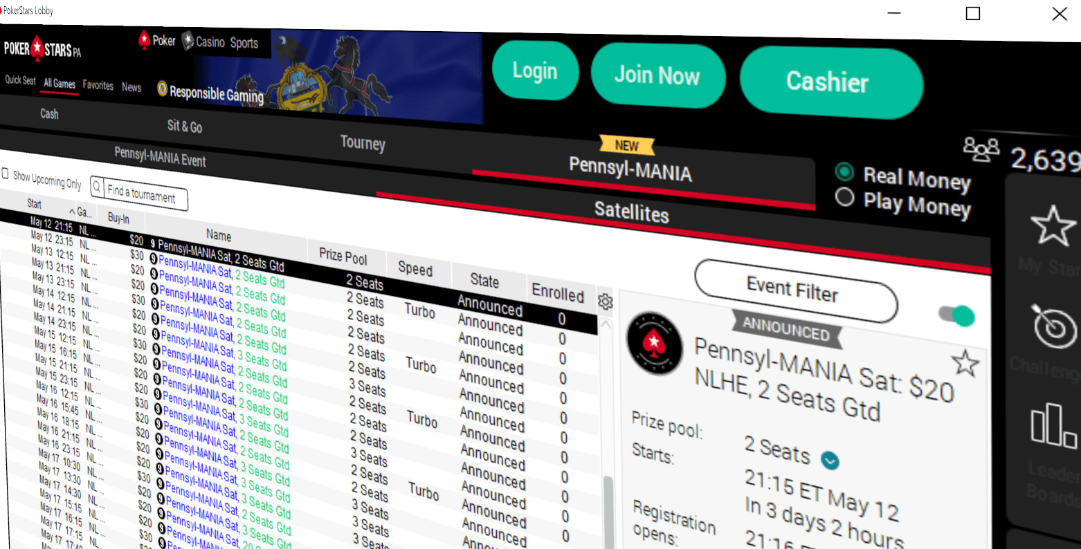 PA Online Poker - Pokerstars Lobby