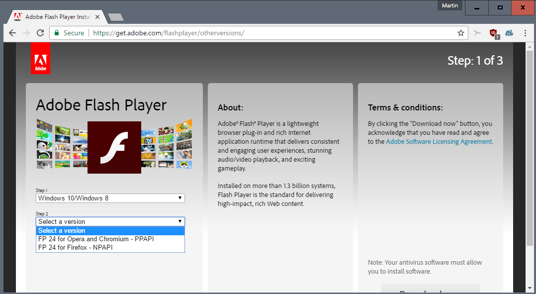 Flash player on chrome