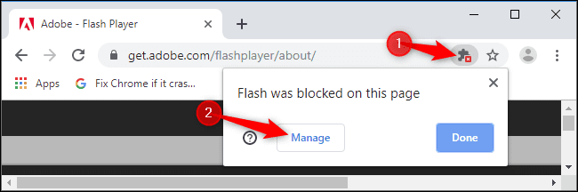 flash blocked pop up