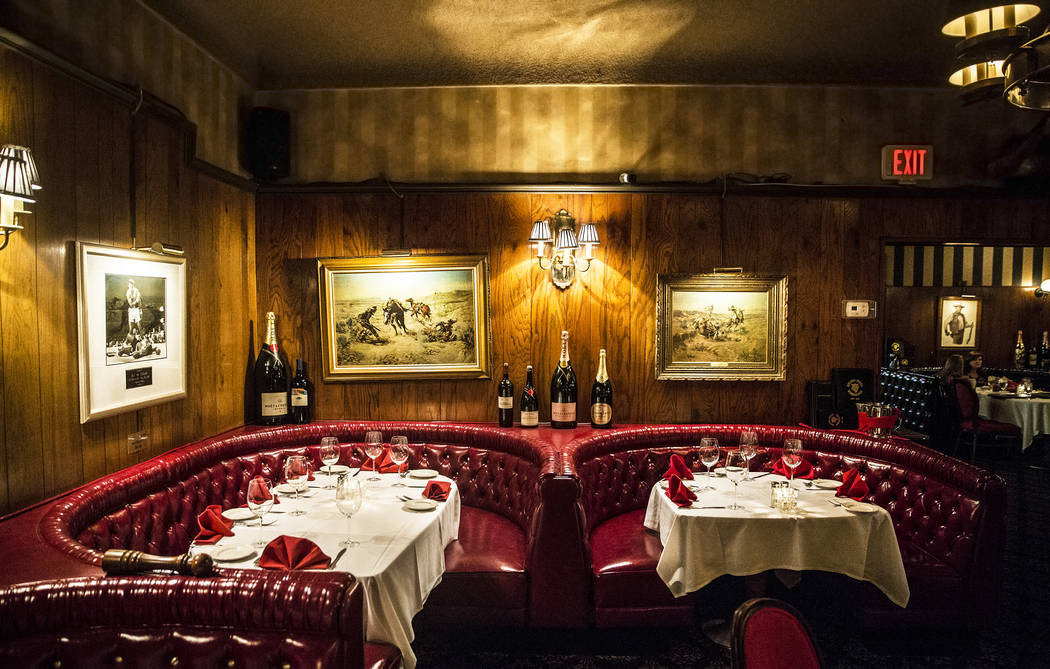 image of the Golden Steer Steakhouse interior with ambient lights