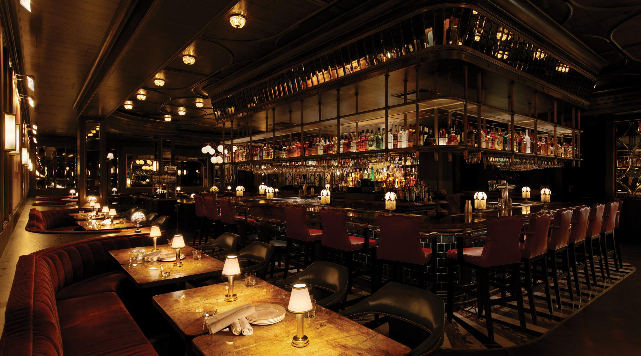 image of Bavette's Steakhouse and Bar interior with dim lights